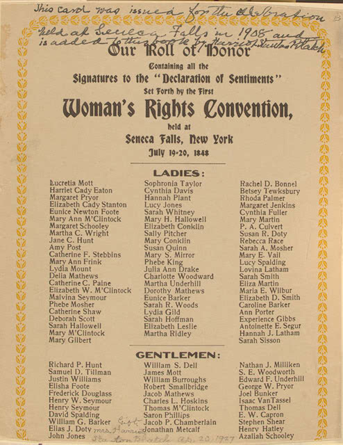 Roll of Honor, Seneca Falls Convention 1848