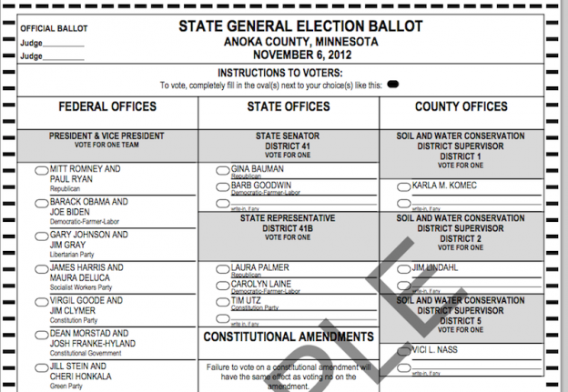 Sample 2012 Minnesota Ballot