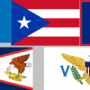 The flags of the five permanently populated U.S. territories.