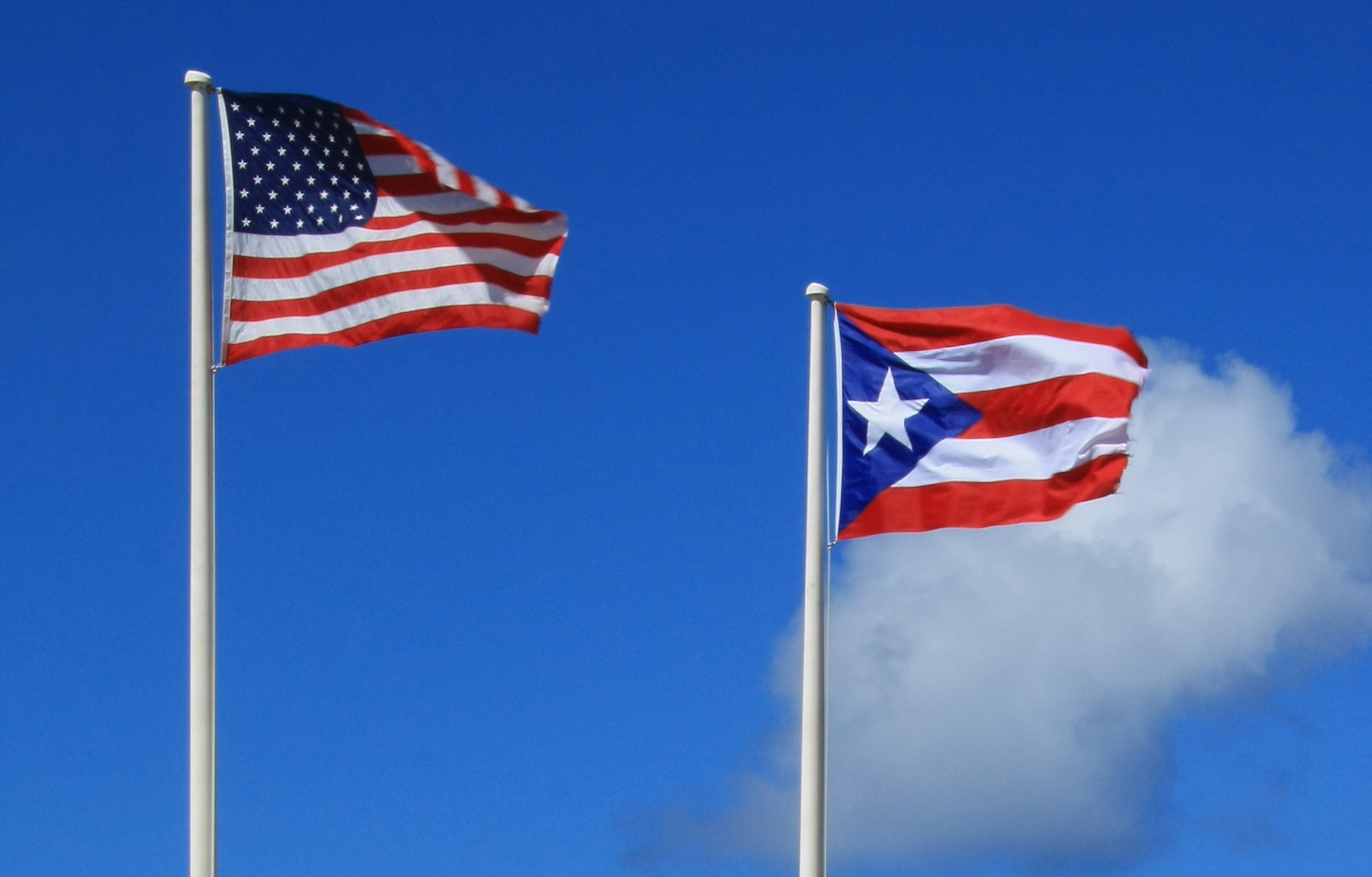 The flags of Puerto Rico and the United States