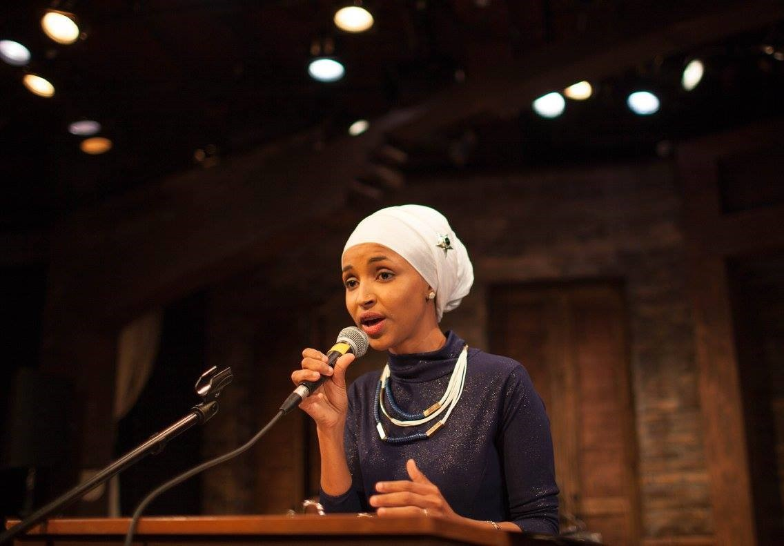Ilhan Omar speaks at her campaign launch event on Nov. 11, 2015 at Mixed Blood Theater. Source: Ryan Stopera, Twin Cities Daily Planet